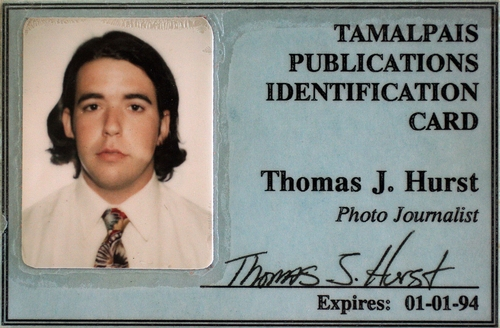 The fake press badge Thomas created before leaving for his very first war in Bosnia - Summer 1992